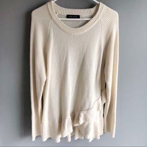 Ivanka Trump Cream Ruffle Sweater